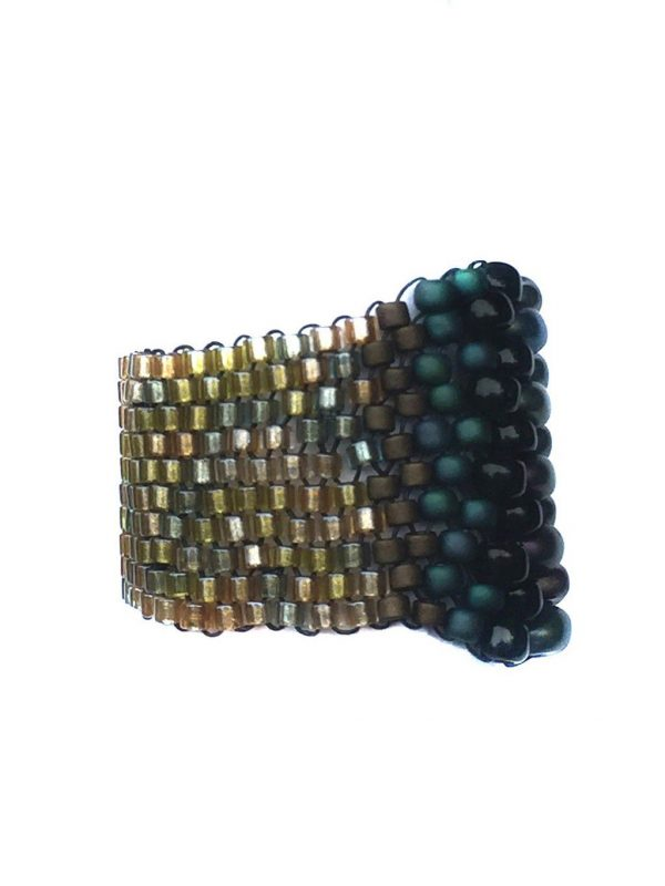 wide band ring fully beaded in green, black, bronze, and gold, super comfortable