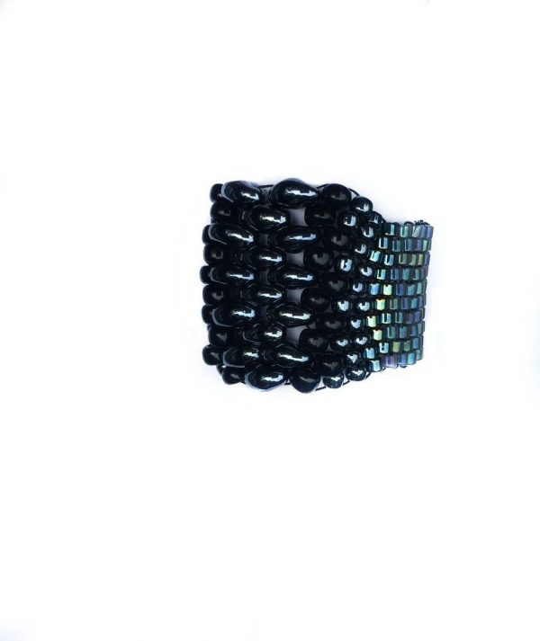 wide band ring fully beaded in hematite, black, and blue, super comfortable