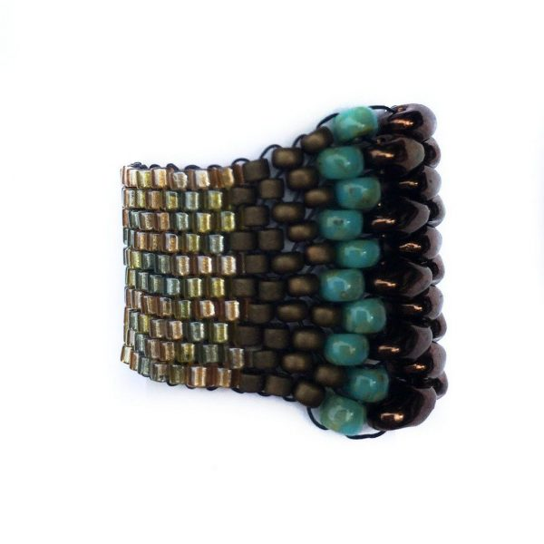 teal and brown and gold ring