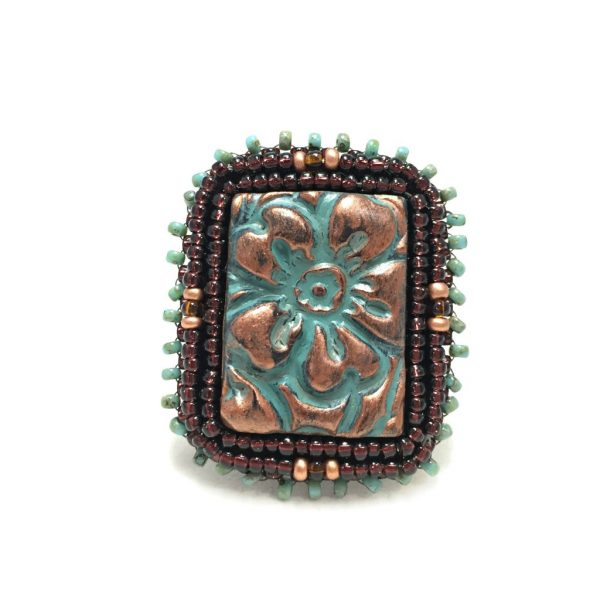 front of patina beaded flower ring