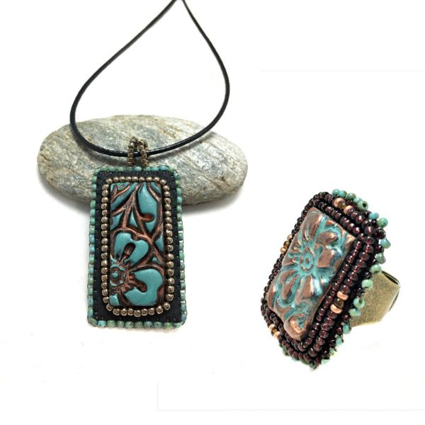 Patina Flower Necklace and Ring Set