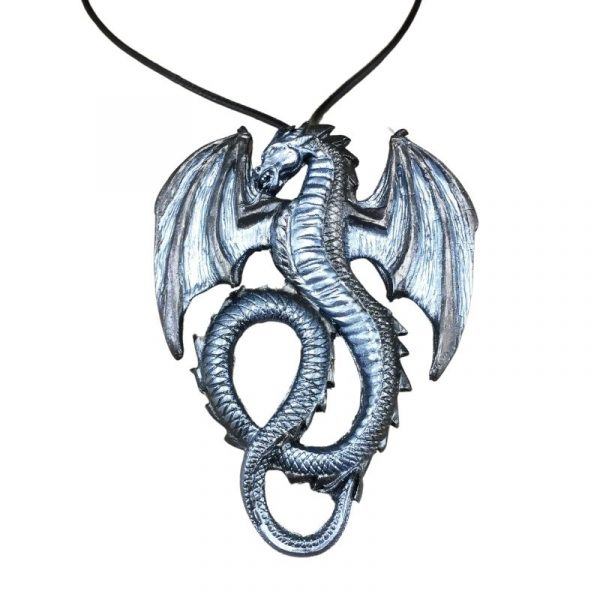 silver winged dragon necklace