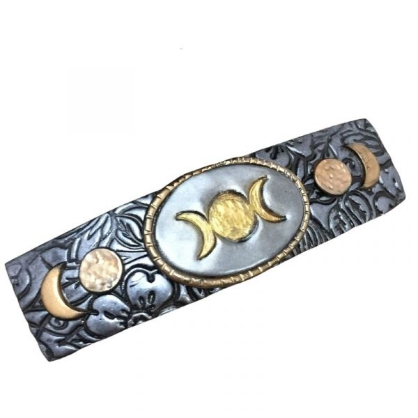triple moon goddess hair clip with gold and silver accents