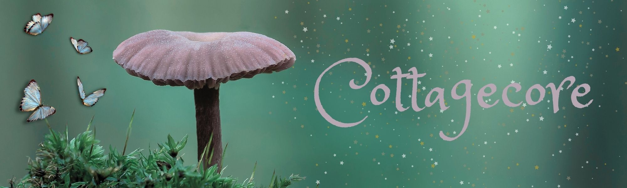 cottagecore aesthetic graphic with pale pink mushroom and magic sparkles and whimsical writing