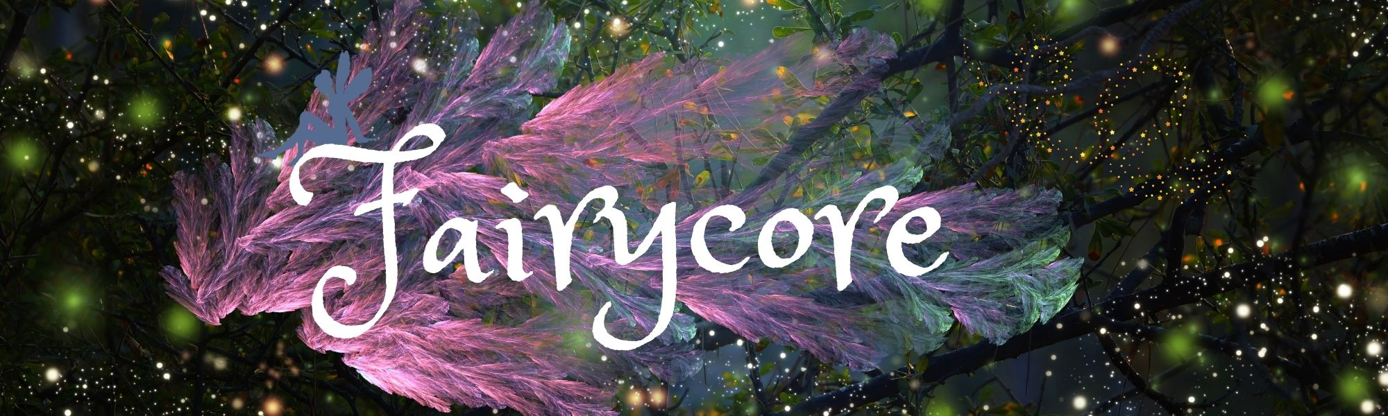 whimsical fairycore banner with forest background and fireflies, a feather and fairy
