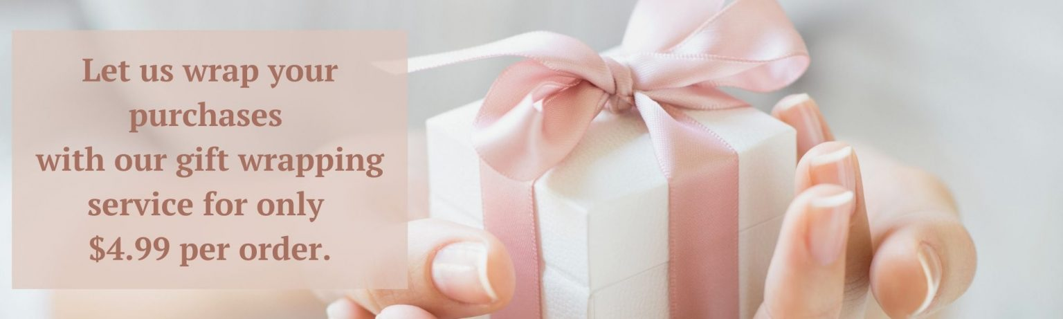 gift wrapping service. picture of woman holding a gift