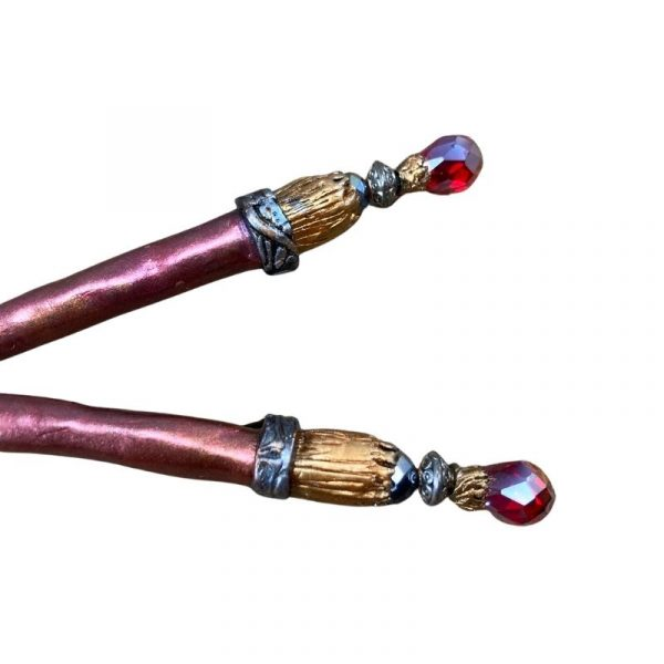 red crystal juda sticks in pink and gold