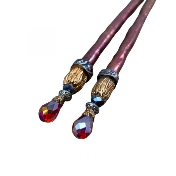 regencycore aesthetic hair pins with red teardrop crystals