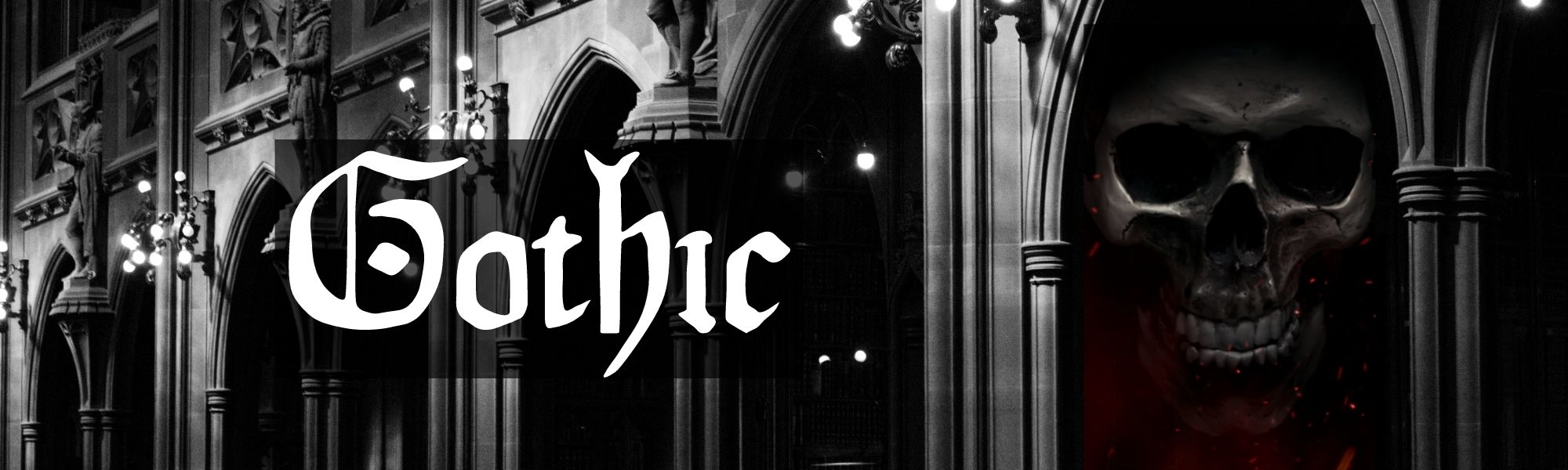 trad goth design with gothic church in background with skull in shadow of the archway and gothic writing